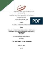 Análisis e Interpretación Del Estado de Situación Financiera Aplicando El Método de Reducción a Porcentajes