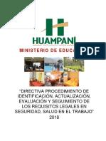"""Directiva Xxx -2018- """"Directiva Procedimiento de Identificación, Actualización, Evaluación y Seguimiento de Los Requisitos Legales en Seguridad, Salud en El Trabajo"""""""