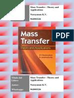 Libro de Transferencia de Masa, Autor Narayanan K.V,  Mass Transfer