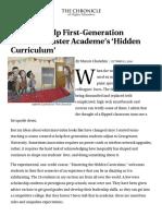 We Must Help First-Generation Students Master Academe's 'Hidden Curriculum'