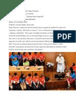"""Dialogul Sfântului Părinte Papa Francisc la întâlnirea cu tineri și cu bătrâni cu ocazia lansării cărții """"Înțelepciunea timpului"""" la Institutul Patristic Augustinianum"""