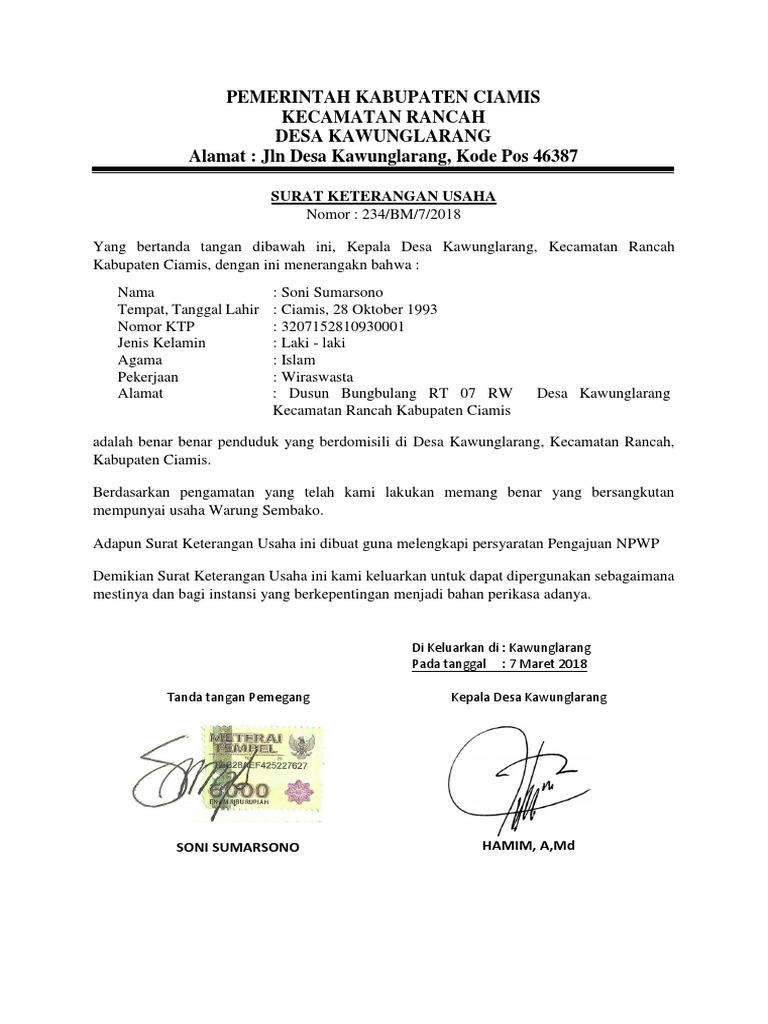 By Photo Congress Contoh Surat Keterangan Usaha Dari Rt