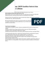 Baterai Lithium 18650 kualitas baterai dan merek baterai Lithium.docx