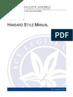 Hansard Style Manual 2017