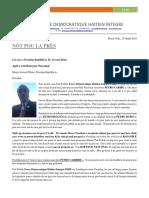 Message Au President de La Republique M. Jovenel Moïse à La Veille Du 1er Novembre 2018.  APPEL A UNE COHESION NATIONALE