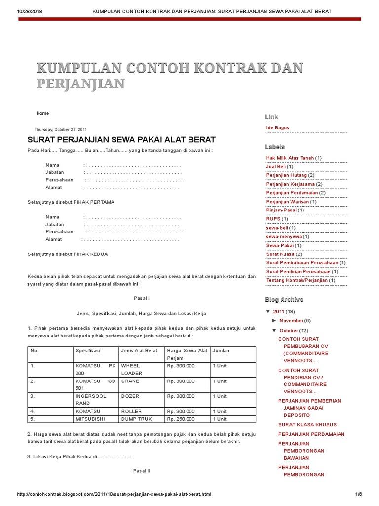 Kumpulan Contoh Kontrak Dan Perjanjian Surat Perjanjian Sewa Pakai Alat Berat