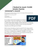 Virat Kohli Fastest to Reach 10000 Runs