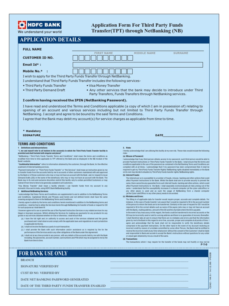 HDFC Third Party Transfer Activate form | Visa Inc. | Banks