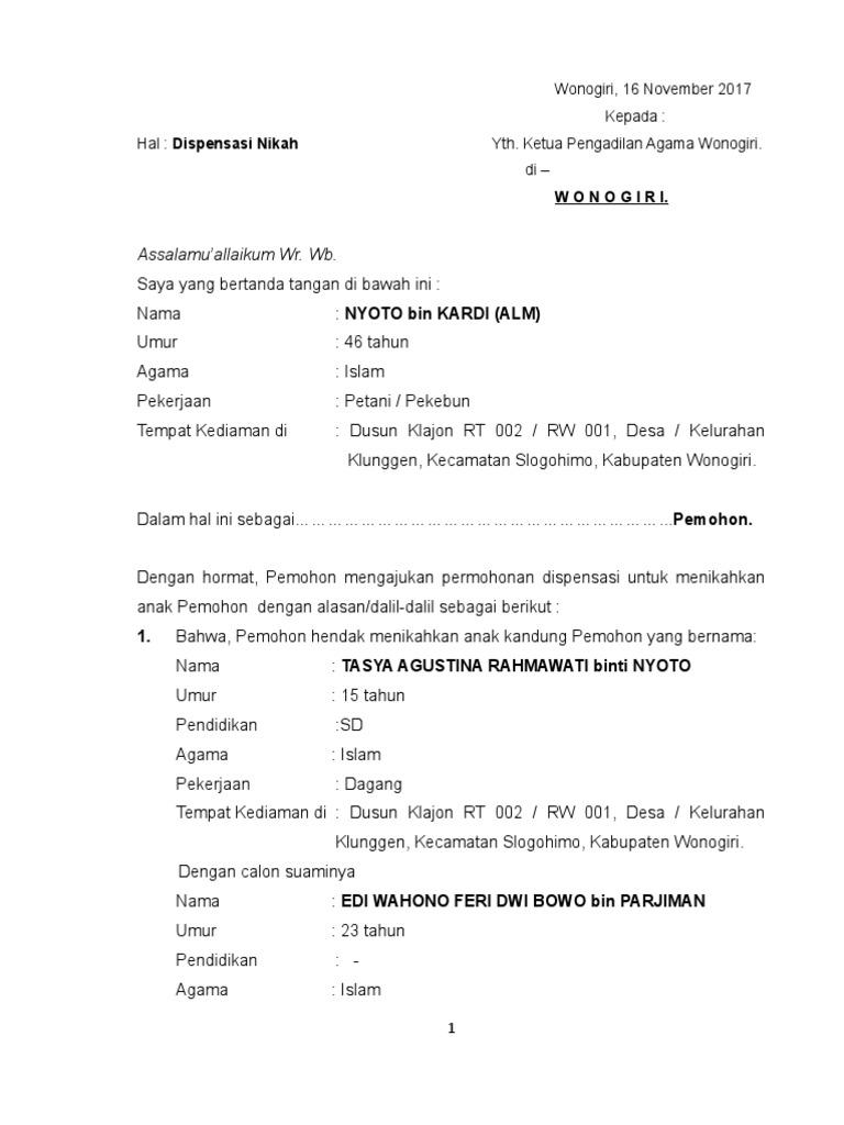 Contoh Permohonan Dispensasi Nikah Anak Laki Lakidoc