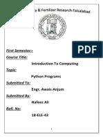 ITC Python Programs