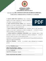 Escritura de Constitución de Sociedad de Responsabilidad Limitada