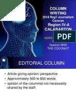2018 Column Writing