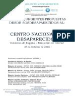 Medidas Urgentes Asociación sosdesaparecidos  Propuestas Cnds 26 Octubre 2018