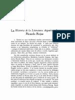 Monner Sans La Literatura Argentina de Ricardo Rojas