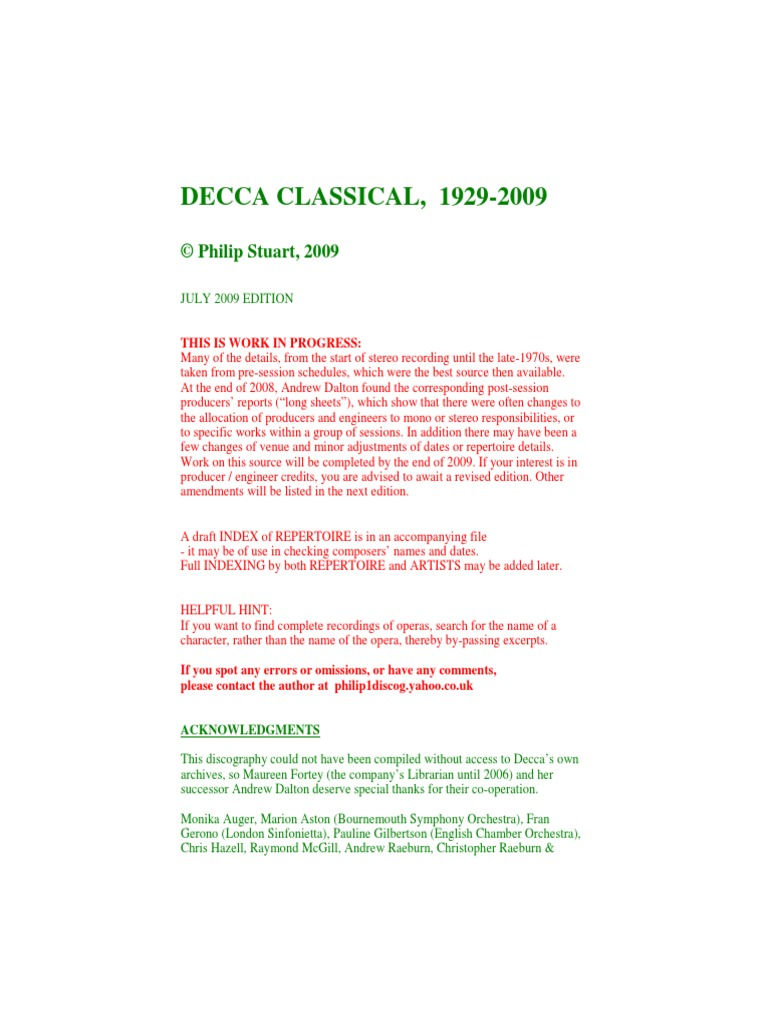 DeccaComplete pdf | Music Industry | Classical Music