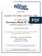 Invitation to a Reception for Governor Mark Warner on July 28th From 5 00 to 7 00 Pm
