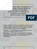 THE PRINCIPLES AND TECHNIQUES OF DESIGN USING ONLINE CREATION TOOLS, PLATFORMS, AND APPLICATIONS TO DEVELOP ICT CONTENT FOR SPECIFIC PROFESSIONAL TRACKS