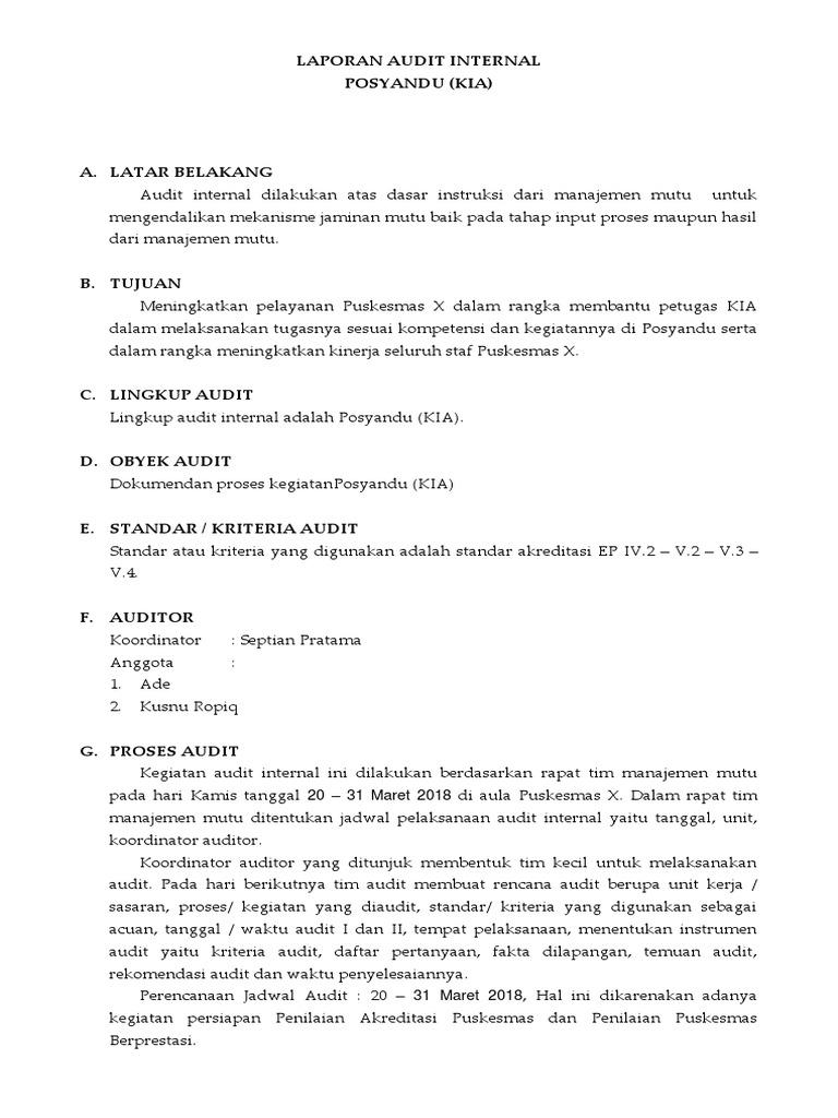 4 Contoh Laporan Audit Internal