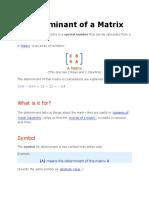 Research Determinant of a Matrix