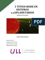 Ley de Titius-Bode en Sistemas Exoplanetarios