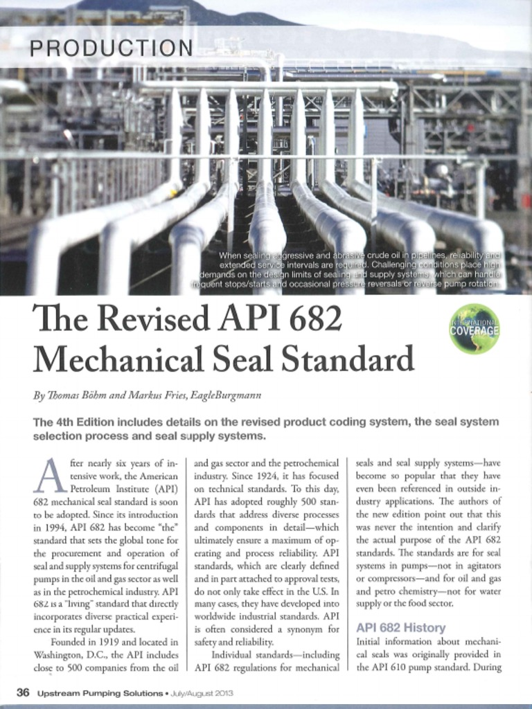 Upstream Pumping Solutions-The Revised API682 Mechanical