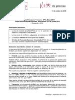 Índice de Precios de Consumo (IPC). Base 2016. Septiembre 2018