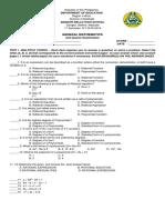 General Mathematics Questionaire
