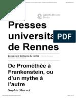 Lectures et écritures du mythe - De Prométhée à Frankenstein, ou d'un mythe à l'autre - Presses universitaires de Rennes