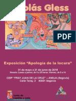 """Catálogo Exposición 'Apología de la locura' de Nicolás Gless. CEIP """"Fray Juan de la Cruz"""" Segovia."""