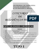 Prova Especialidades Cirúrgicas - Tipo 1 - 2017