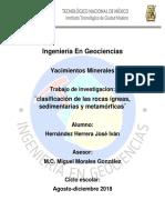 Clasificacion de Las Rocas Igneas, Sedimentarias, Metamorficas
