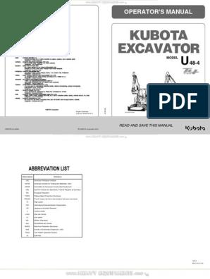 Manual Kubota u48 4 Mini Excavator Operators Specs