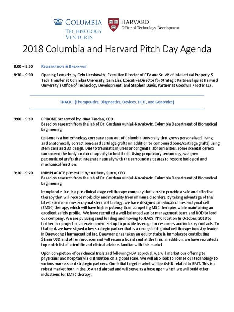 Columbia and Harvard Startup Pitch Day 2018 Agenda | Photonics