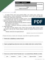Ficha de avaliação mensal - 3.º ano - Português - Setembro/Outubro