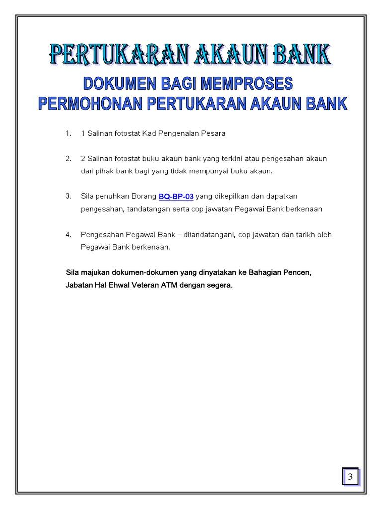 Dokumen Bagi Memproses Permohonan Pertukaran Akaun Bank