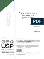 A Teoria Do Equilíbrio Dinâmico Em Geomorfologia