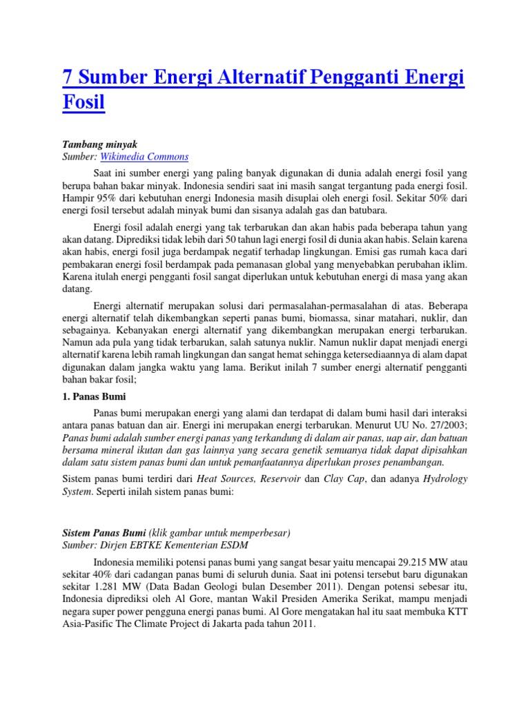 7 Sumber Energi Alternatif Pengganti Energi Fosil Docx