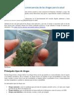 Tipos, efectos y consecuencias de las drogas para la salud.
