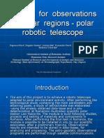 Module for  observations in  polar  regions - polar robotic  telescope
