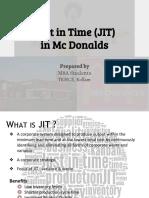 (JIT) in Mc Donalds