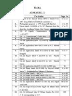Index Annexure V