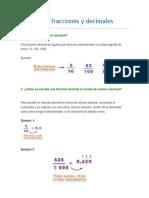 Relacionar Fracciones y Decimales