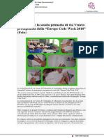 """Ventimiglia, la scuola primaria di Via Veneto protagonista di """"Europe Code Week 2018"""" - Sanremonews.it, 30 ottobre 2018"""