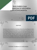 Potensi Energi Dan Pertambangan Di Indonesia Serta Konsumsinya