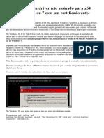 Como Assinar Um Driver Não Assinado no Windows 10 x64