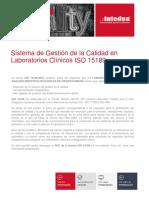 Presentacion Sistema de Gestion de La Calidad en Laboratorios Clinicos Iso 15189