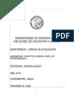0124 Programa Didáctica General Para Los Profesorados Prof Alliaud Plan 85