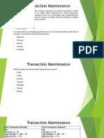 Transaction Maintenance