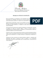 Mensaje del presidente Danilo Medina con motivo del Día de la Constitución (2018)