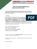 Certificado de Cumplimiento de Ejecucion de Obra